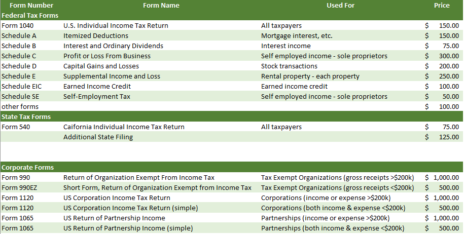 Tax Pricing Page